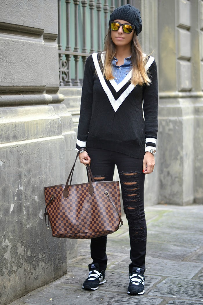 look con never full damier vuitton