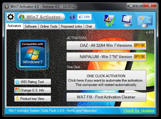 Win7 Activator contient tous les outils pour chaque version de Windows 7.