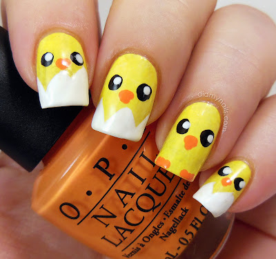 baby chick nail art for easter