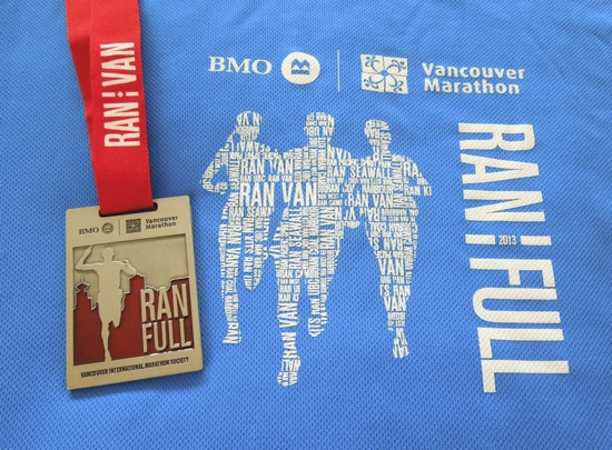 Vancouver Marathon 2013 medal shirt