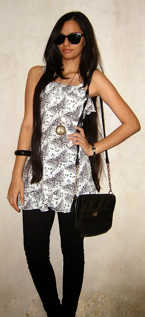 monochrome, how to wear black and white outfits, folding sunglasses, indian outfit ideas, how to wear sunglasses