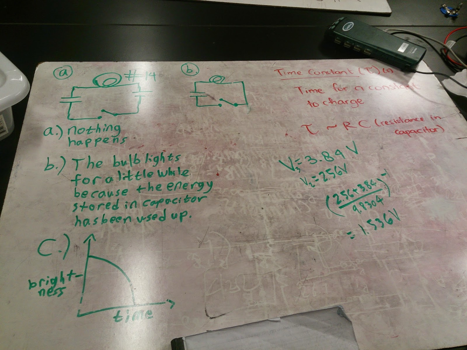 Physics 4b Capacitor Charge And Discharge 17th Day Discharging Circuit In Class We Needed To Make A Sketch Of Containing Light Bulbs Switch Batteries Order Answer The Questions From Lab Manual