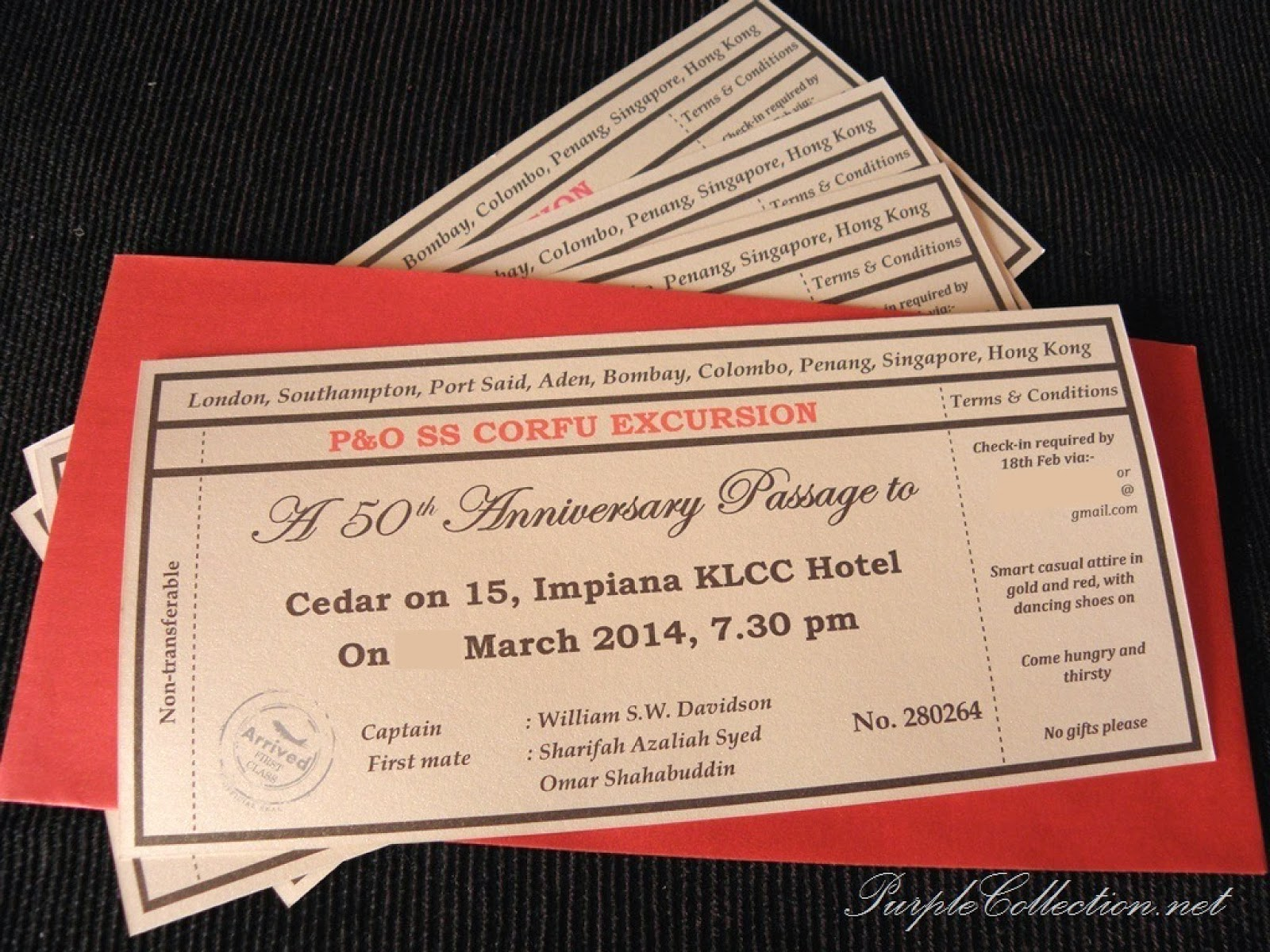 Ticket Th Anniversary Invitation Card - Birthday invitation cards singapore