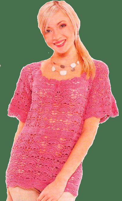 розовый полувер-туника