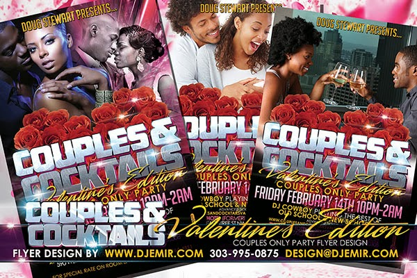 Couples & Cocktails Valentine's Day Edition Couples Only Party Flyer Design