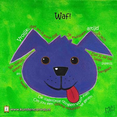 schilderij met gedicht Waf! hond