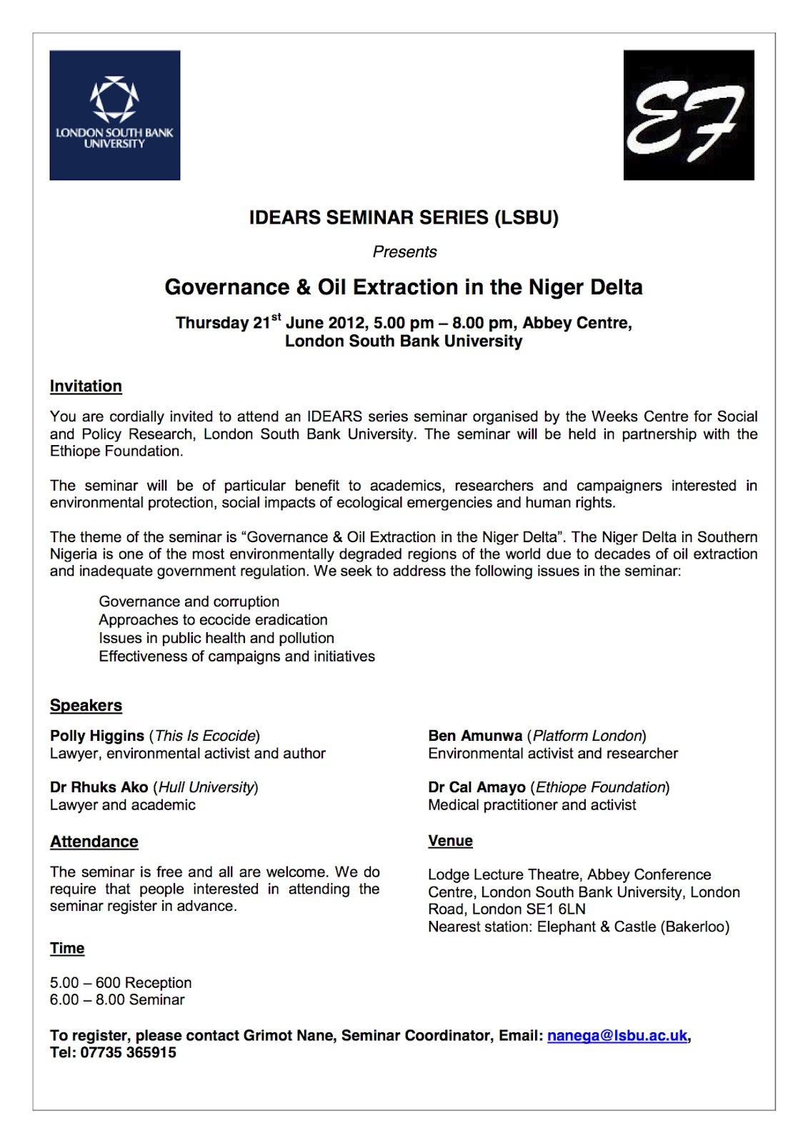 Naijablog niger delta governance seminar coming up in london niger delta governance seminar coming up in london stopboris Image collections