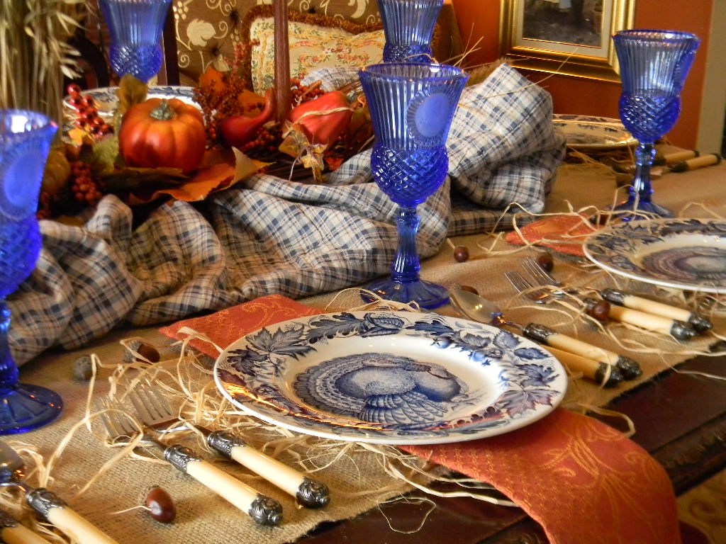 Nancy 39 S Daily Dish Blue And Orange Thanksgiving Table
