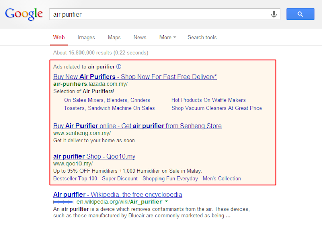 "Who are bidding for ""air purifier"" on Google?"