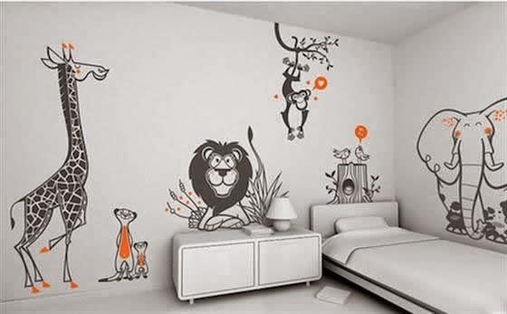Dormitorios tema jungla dormitorios colores y estilos - Dibujos paredes infantiles ...