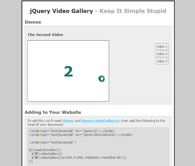 jQuery Video Gallery
