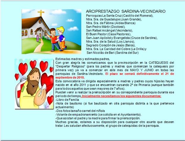 PREINSCRIPCIÓN DE CATEQUESIS