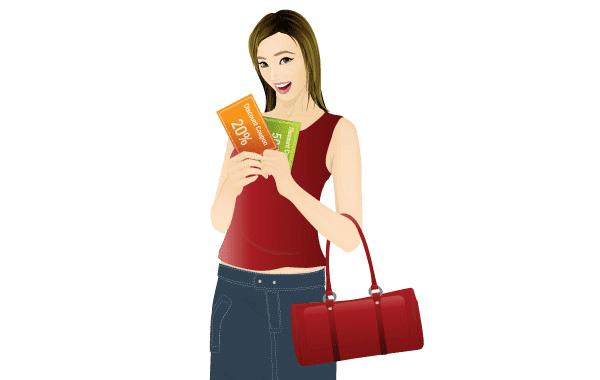 Mujeres de compras para imprimir