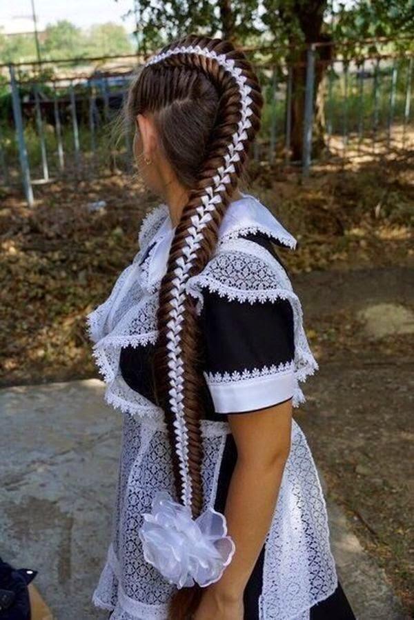 Female beauty, long braid