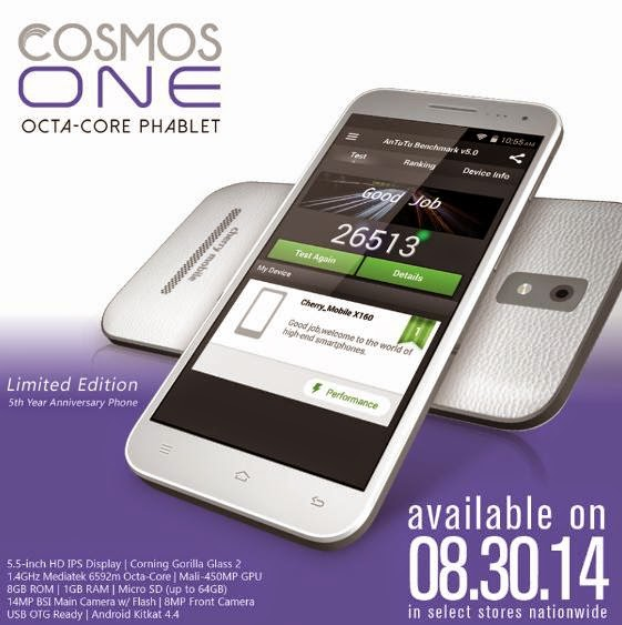 Cherry Mobile Cosmos One, 5.5-inch HD IPS Octa Core Phablet for Php6,999