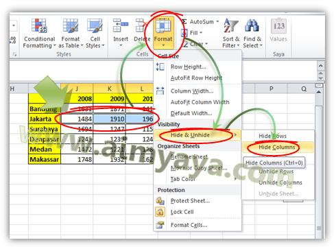 Picture: Another way to to Hide columns or Rows in Microsoft Excel