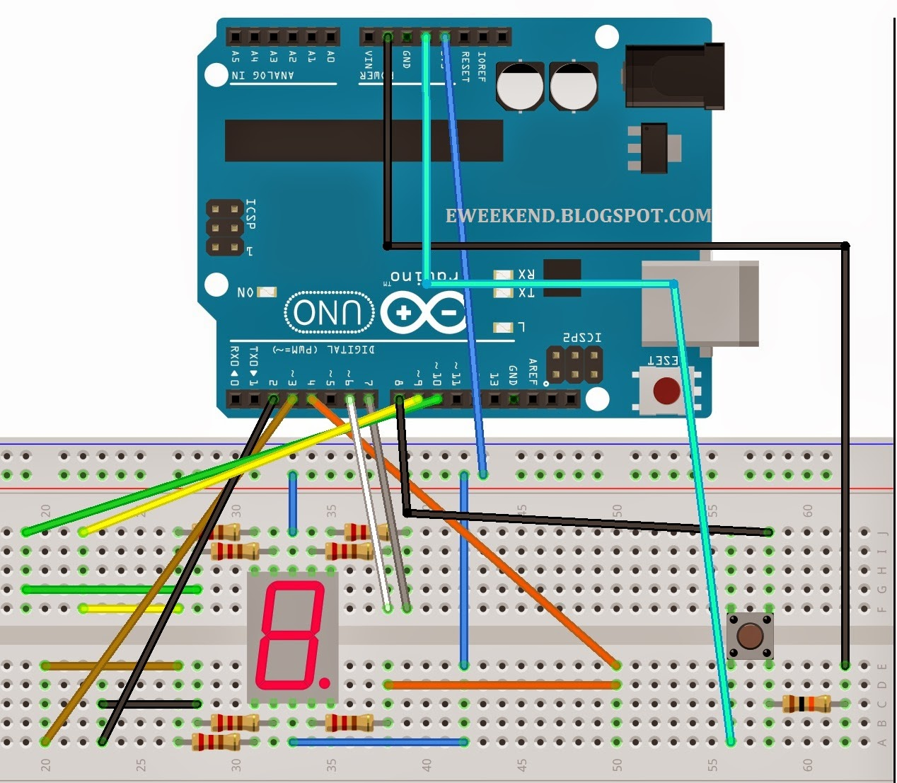 Button Counter Using 7 Segment Display Arduino Dash Electro Wiring Diagram Wire Up The Components As Shown In Picture Below Click On It To Enlarge