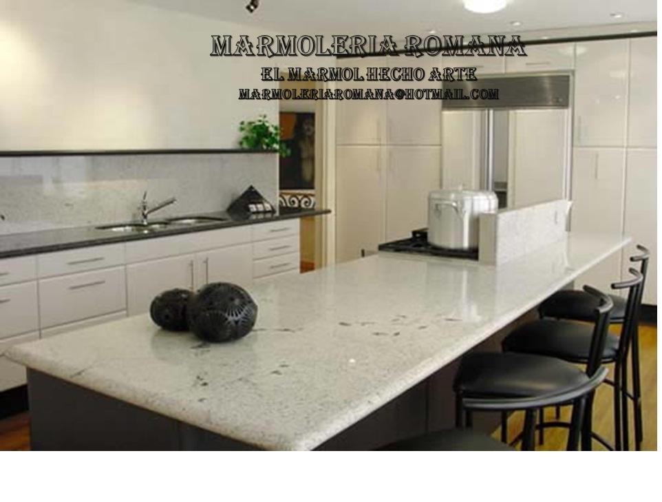 Marmoleria romana cocinas mesones en granito for Barras de granito para cocina