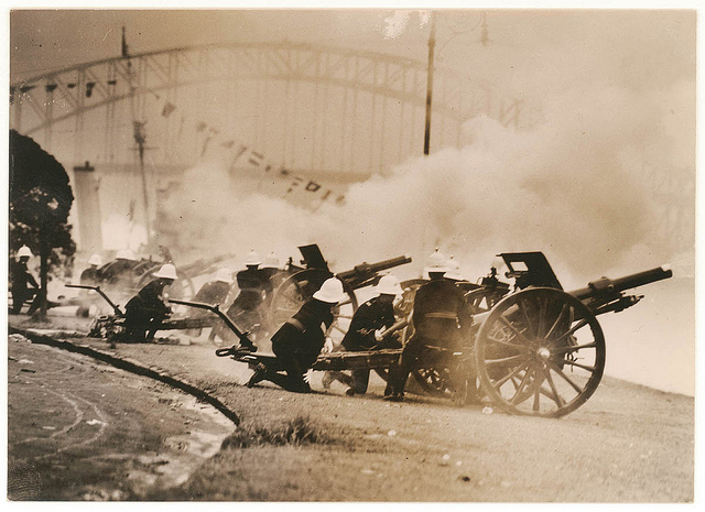[Artillery fire the salute at the opening of the Harbour Bridge], 19 March 1932, by Sam Hood