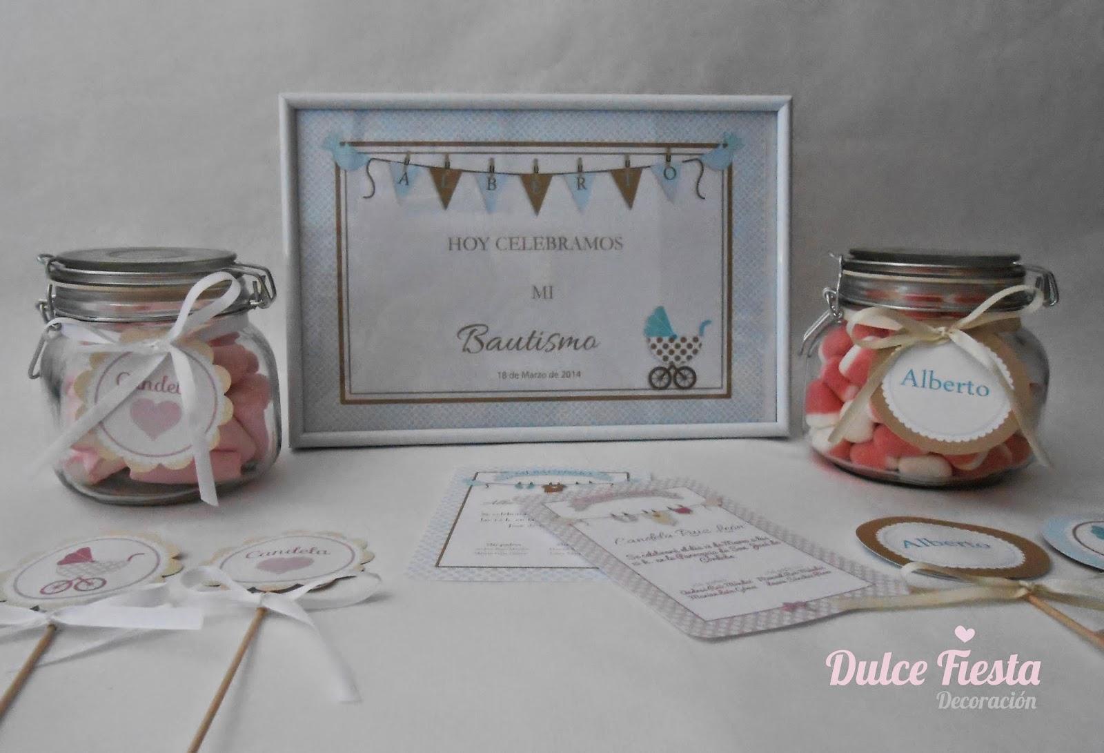 Decoración: Kit cartel de bienvenida y recordatorios bautizo niño
