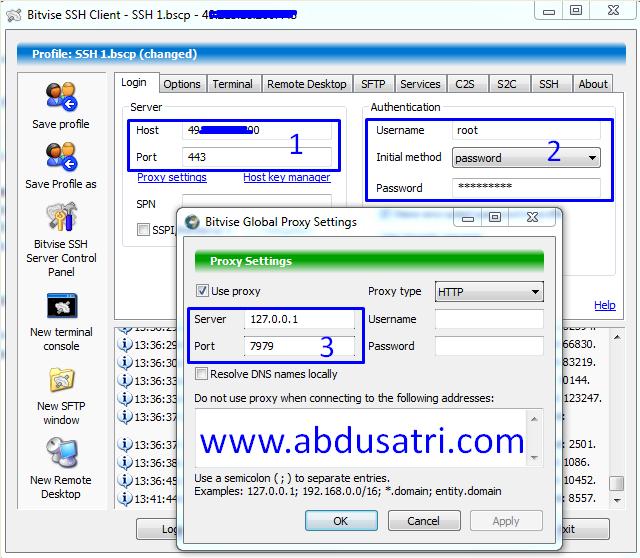 Cara internet gratis SSH bitvise
