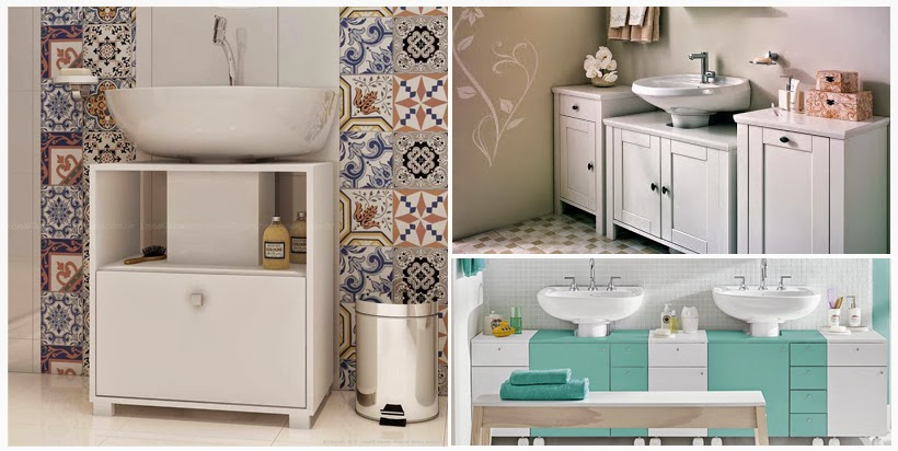 O charme das pias com coluna  CASAS RIO  Casas préfabricadas -> Armario De Banheiro Com Espelho Tok Stok