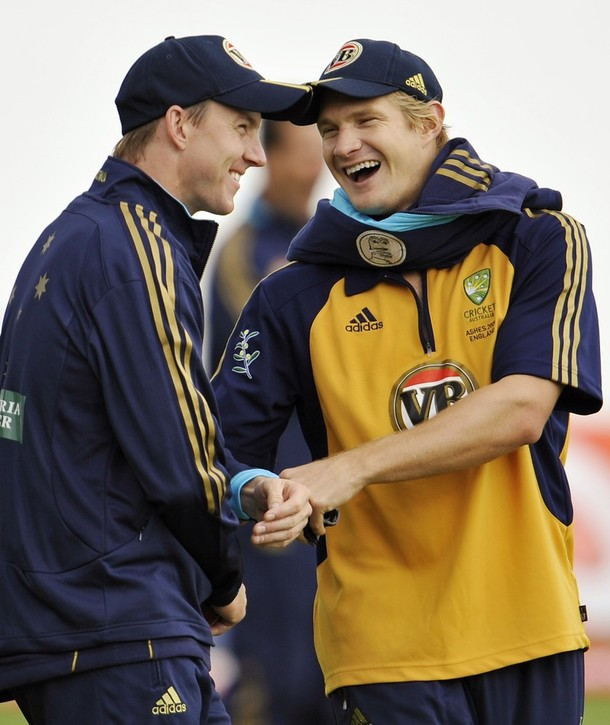 Shane Watson with Brett Lee