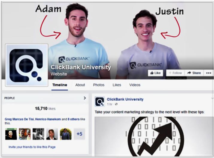 Clickbank University Facebook page