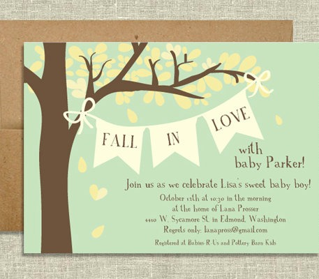 autumn vanilla picture autumn themed baby shower invitations