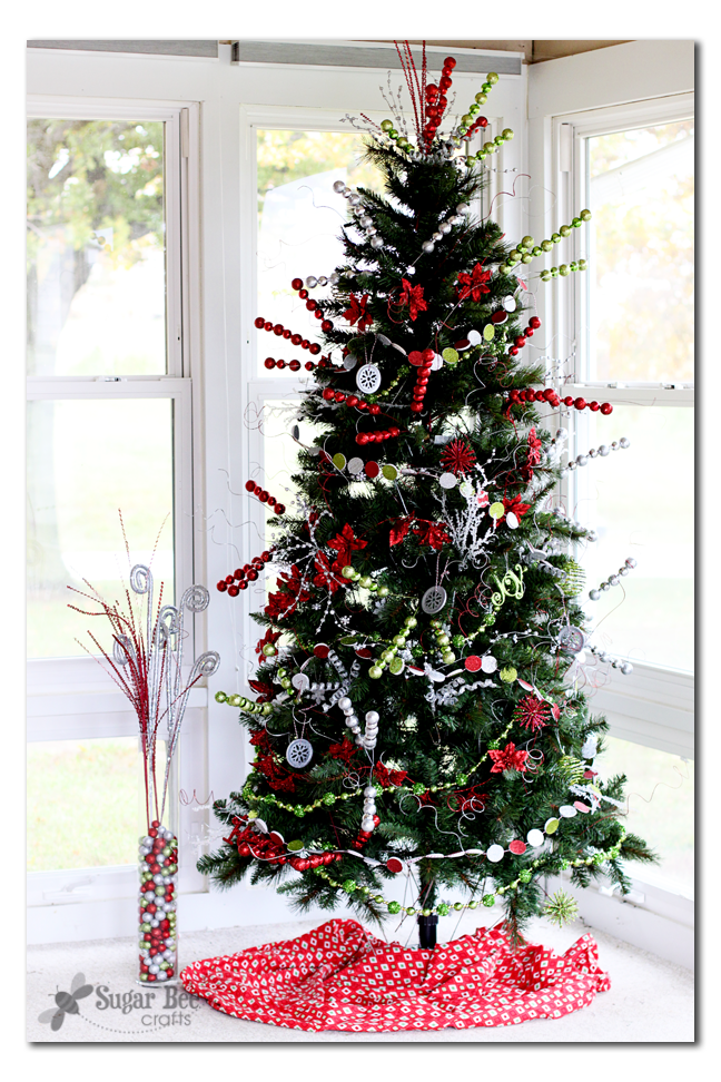 Red and green bling christmas tree with michael 39 s dream for Michaels crafts christmas trees