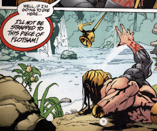 Aquaman throws harpoon prosthetic into the lake
