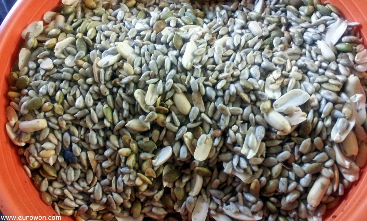 Pipas de girasol y calabaza mezcladas con cacahuetes