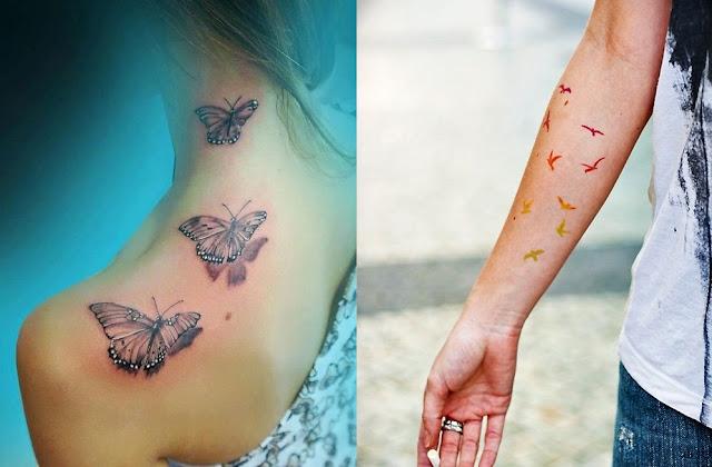 Butterflies+and+birds+colorful+tattoosjpg