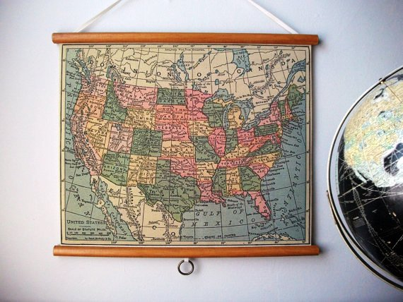CHAD\'S DRYGOODS: PULL DOWN MAPS - WALL ART