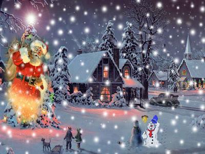 Casas de navidad, nieve y luces