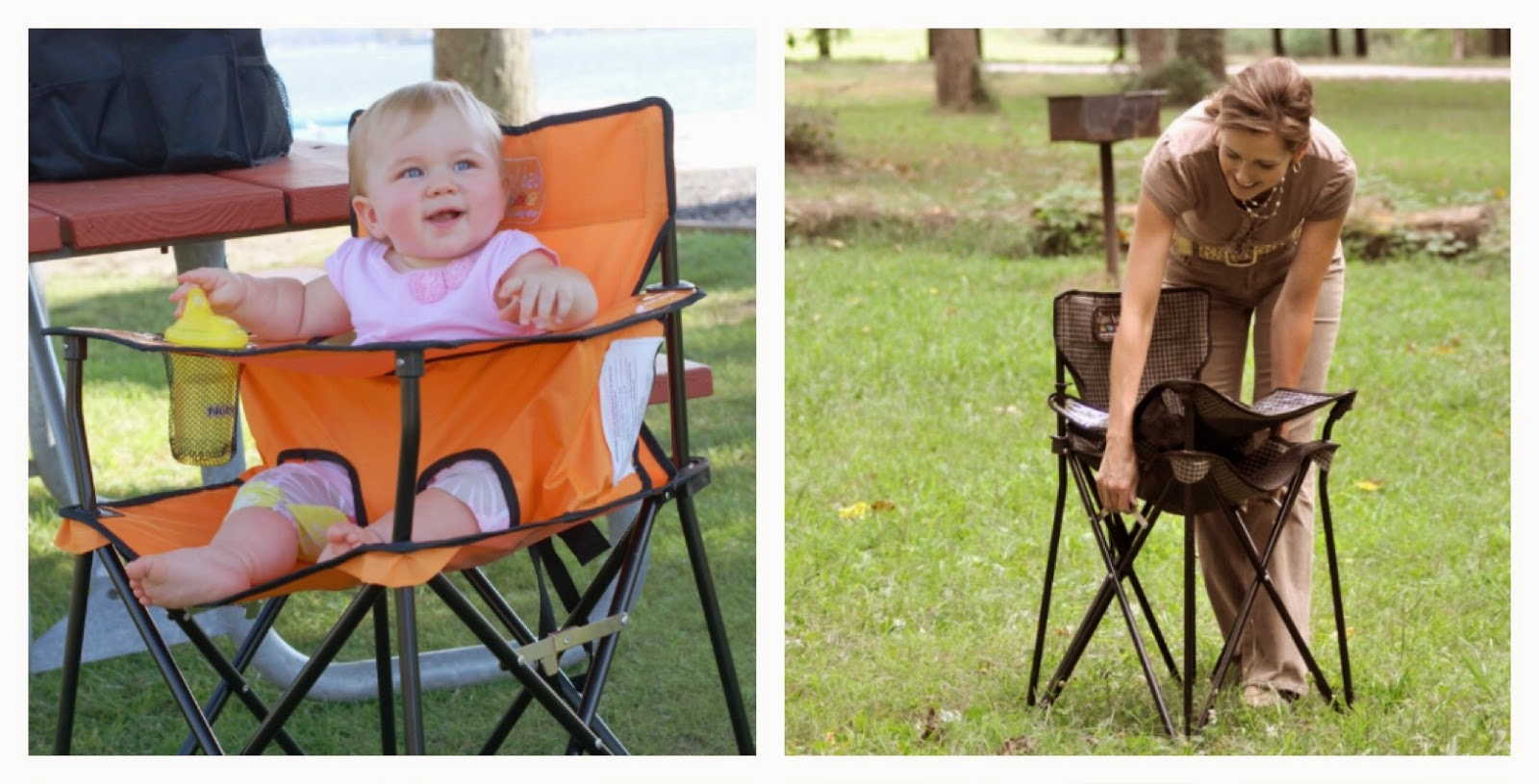 the chair unfolds easily locks into place and folds up in just seconds - Ciao Portable High Chair