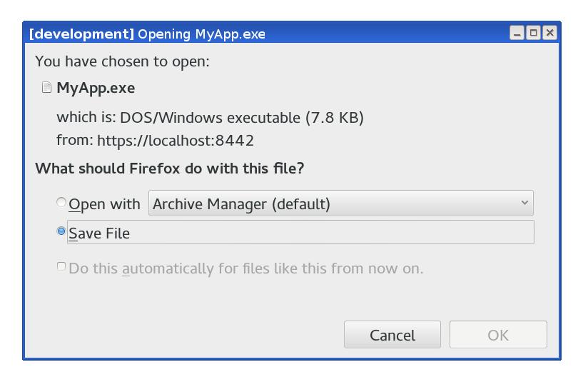 Download dialog for download of signed file.