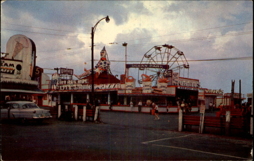 Salisbury Beach Postcard, clown, ocean, amusements
