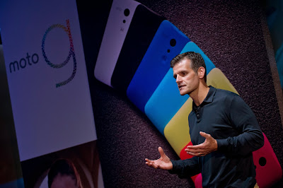 "Dennis Woodside, CEO of Motorola Mobility, speaks while introducing the company's new low cost smartphone ""Motorola Moto G"", in Sao Paulo, Brazil on November 13, 2013. The smartphone, with dimensions 65.9mm W x 129.9mm H x 6.0 - 11.6mm D is equipped with a Qualcomm Snapdragon 400 with quad-core 1,2 GHz CPU, a 4.5-inch display and Android Operating System 4.3 and suggested price of $ 179 USD"