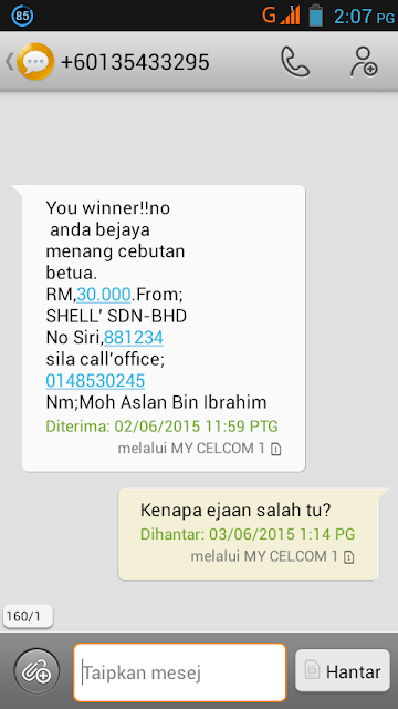 Menang cabutan bertuah RM30,000 dari Shell