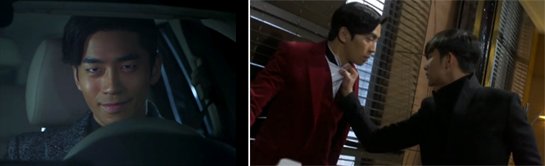 Shin Sung Rok 신성록 as Lee Jae Kyung smiles evilly in his car. / Do Min Joon grabs Lee Jae Kyung by the collar.