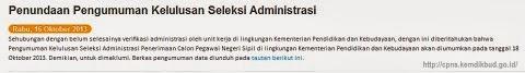 Pengumuman CPNS Kemdikbud: Kelulusan Seleksi Administrasi Diumumkan 18 Oktober 2013