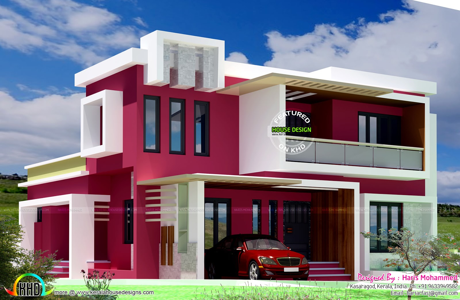 Box type contemporary home kerala home design and floor Types of house plans