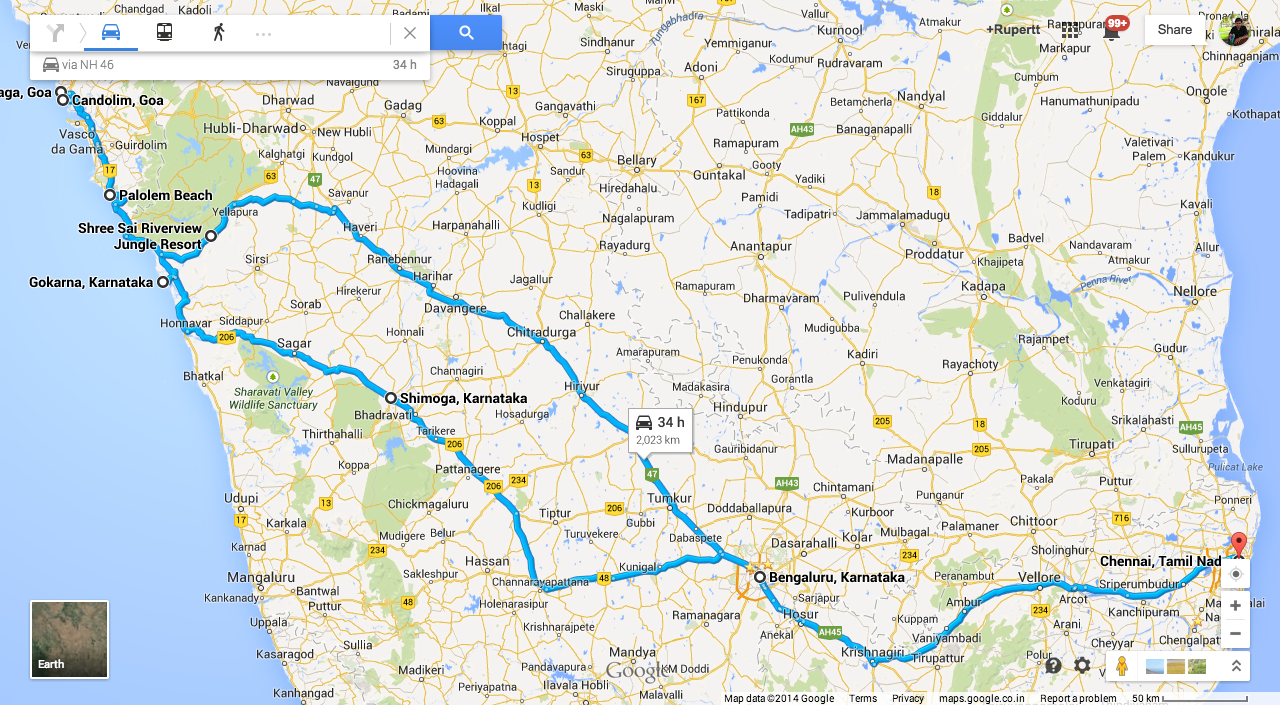Road Trip : Chennai to Goa - Route Map