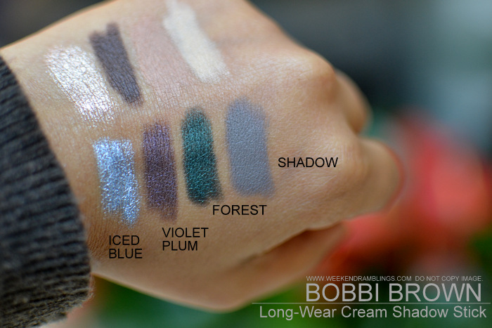 Bobbi Brown Long Wear Cream Eyeshadow Sticks New Makeup Swatches Indian Beauty Blog Bark Forest Golden Pink Iced Blue Sand Dune Shadow Vanilla Violet Plum