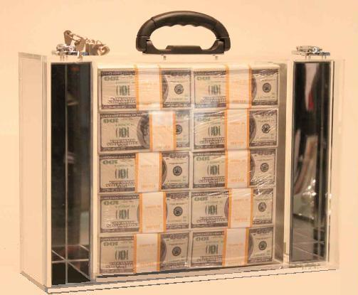 Klaus Guingand artwork: IN GOD WE TRUST - Plexiglas briefcase - 2012. One $ million cash - Klaus Guingand