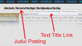 CARA MEMBUAT TEXT TITLE LINK PADA JUDUL POSTINGAN