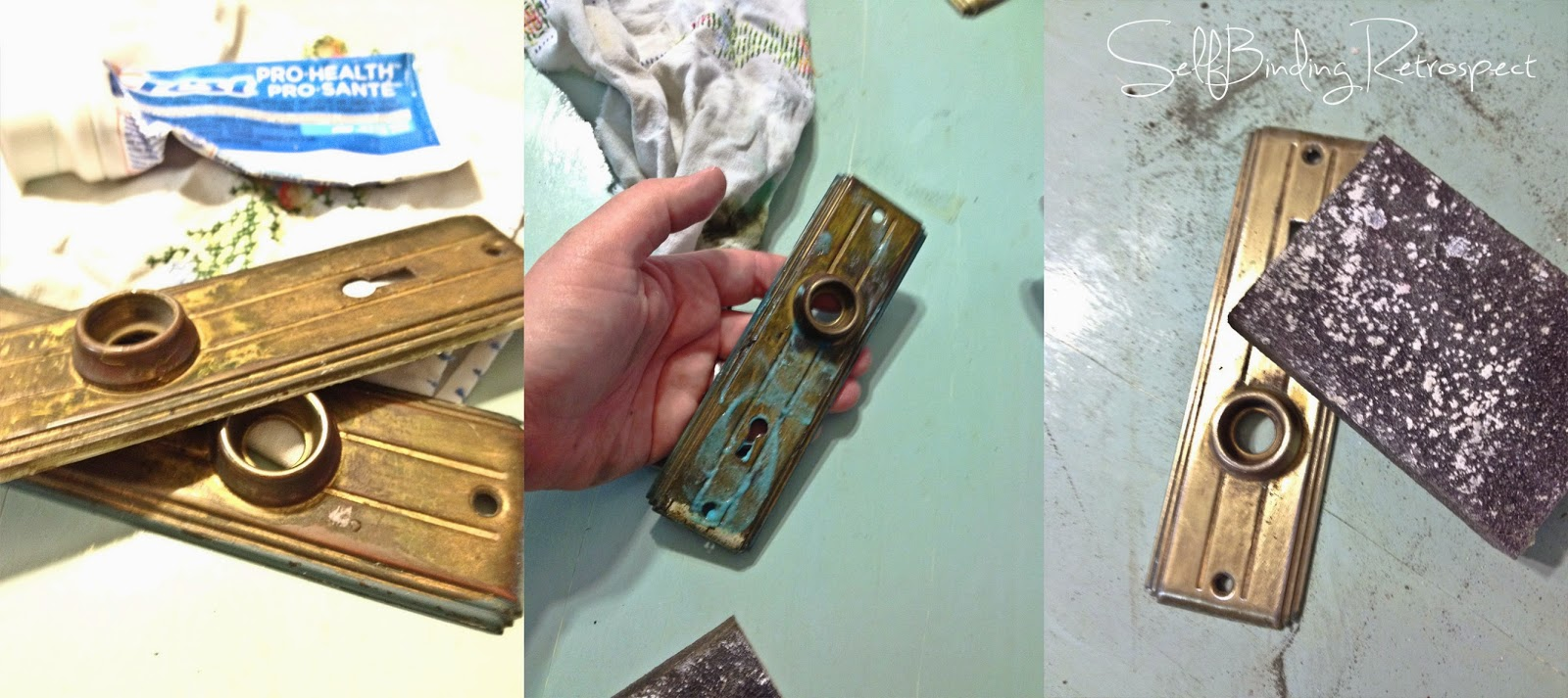 how to clean a dirty doorknob with sandpaper & toothpaste
