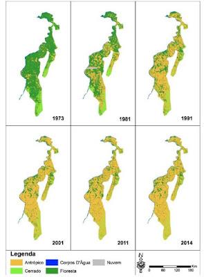 Série histórica do desmatamento na Amazônia tocantinense. Dieyson R. Moura.