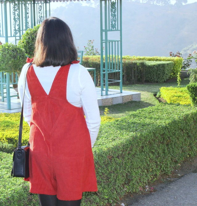 red seventies playsuit dress